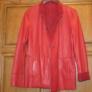 Vera Pelle Italian Leather & Suede Red Reversible